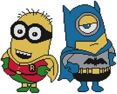 Cross Stitch Knit Crochet Plastic Canvas Waste Canvas Rug Hooking and Bead Work Pattern Batman and Robin the Boy Wonder Minions! https://www.pinterest.com/resparkled/