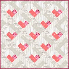 jellyroll quilts Sew a log cabin quilt perfect for any baby with this free Baby Heart Log Cabin Quilt Pattern! Free Baby Quilt Patterns, Heart Quilt Pattern, Log Cabin Quilt Pattern, Log Cabin Quilts, Sewing Patterns Free, Free Sewing, Log Cabins, Pattern Sewing, Sewing Tutorials