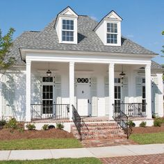 Highland Homes, Scheffy Construction - SW pure white, shutters SW sea salt-classic home with tall windows shutters and white front door-best front door paint colors DOOR! Front Door Paint Colors, Painted Front Doors, Exterior Paint Colors, Exterior House Colors, Paint Colors For Home, Exterior Design, Gray Exterior, Paint Colours, Exterior Shutter Colors