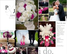 Wedding flowers: @St Clemens Castle Splash of Hot Pink & Feathers! ~Creative Place