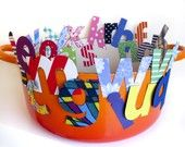 Chicka Chicka Boom Boom crown  love the letters cut out of scrapbook paper