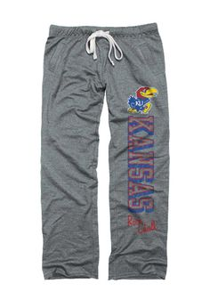 Kansas Jayhawks Womens Sweatpants - Grey KU Jayhawks Jayhawks Boyfriend Sweats - L