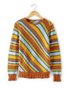 Diagonal Stripes Sweater - Free Knit Patterns | Yarnspirations