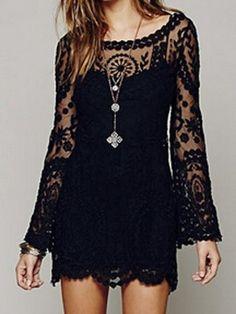 Shop Black Sheer Panel Crochet Lace Flare Sleeve Scallop Hem Dress from choies.com .Free shipping Worldwide.$16.9