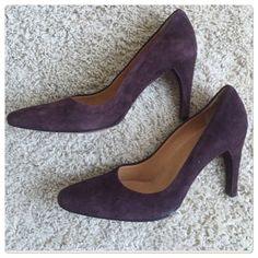"""♣️ Bally sirena pumps heels eggplant suede This is a gorgeous pair of Bally Sirena pumps. They are a eggplant suede leather. Heel is 3.5"""". Great condition. Size 6.  All items are from a clean, smoke free home  We ❤️ offers but will only be considered by using the """"OFFER"""" option  Trades  Modeling Bally Shoes Heels"""