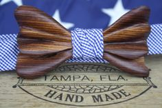 The Luger Sterling Wooden Bow Tie - Kingwood - Ella Bing Bow Ties of Tampa Bay Kingwood fine dark stripes mixed with pale streaks.