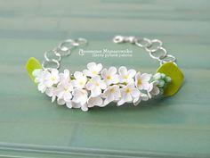 Bracelet White Lilac Syringa Polymer Clay by SaisonRomantique