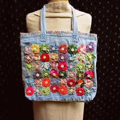 Upcycled Lined Tote/Market Bag with Vintage Yo-Yos, Mother of Pearl Buttons, and Beaded Ric-Rac Denim Tote Bags, Denim Crafts, Fabric Bags, Mother Of Pearl Buttons, Market Bag, Purses And Bags, Fashion Accessories, Reusable Tote Bags, Vintage