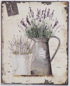 Schild Blechschild Dekoschild Lavendel Kanne 30 x25 cm Landhausstil Shabby Neu | eBay