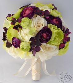 17pcs Wedding Bridal Bouquet Silk Flower Decoration Package Bride Green Plum | eBay