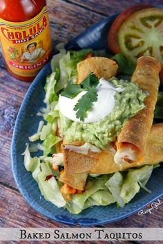 Easy Baked Salmon Taquitos recipe - just like the beef or chicken taquitos that you know and love, but made with salmon instead.  So good!  from RecipeGirl.com