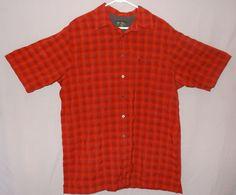 Eddie Bauer Red Plaid Shirt Size Tall Large Button Front - Damaged  #EddieBauer