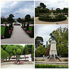 Le Parc du Retiro et la fameuse statue du Diable en bas à droite (Madrid, Espagne)