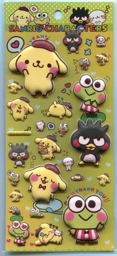 Image 0 of Sanrio Characters Cute Sponge Sticker Sheet #4 (Keroppi Badtzmaru Purin) (I1505)