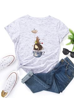 Cartoon Print O neck Short Sleeve T shirt For Women P1800171, Black / US 10