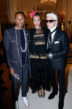 b2e1f45e6 Pharrell Williams Cara Delevingne and Karl Lagerfeld attend the  Chanel  Collection des Metiers d