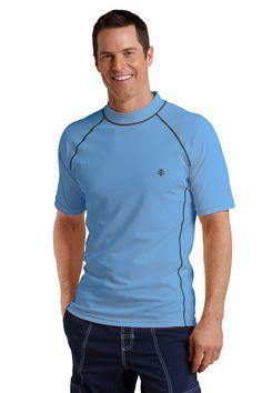 Men's Sun Protection Swim Shirt, Surf Blue - Short Sleeve