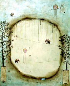 Nava Waxman: Incomparable Freedom - Mixed media, encaustic on wood panel