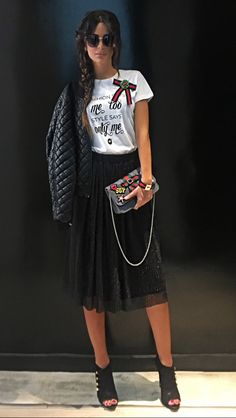 Dynamite Black Pleated Midi Skirt With Glitter Touch With Handmade T-Shirt NV by Nektarios Vazakopoulos Fall Winter 2018 Collection!!!