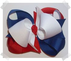LARGE Triple Loop Grosgrain Hair Bow in Red, White, and Royal Blue