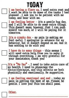 How are you feeling today? I need this checklist on my fridge so everyone will know how Im feeling!
