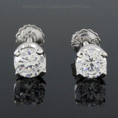0.50 carat Round Cut VVS1 D Solitaire Stud Earrings with Screw Back Certified #AffinityHomeShopping #Stud