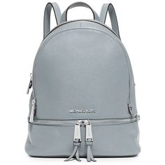 Michael Michael Kors Rhea Small Leather Backpack ($298) ❤ liked on Polyvore featuring bags, backpacks, backpack, dusty blue, pocket bag, genuine leather bags, leather backpack bag, leather daypack and real leather bags