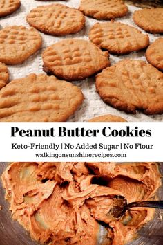 Sugarless and Flourless Peanut Butter Cookies Keto Friendly Recipe from Walking on Sunshine Recipes Sugar Free Baking, Sugar Free Desserts, Sugar Free Recipes, Low Carb Desserts, Dessert Recipes, Sugar Free Peanut Butter Cookies, Flourless Peanut Butter Cookies, Peanut Butter Recipes, Healthy Desserts Peanut Butter