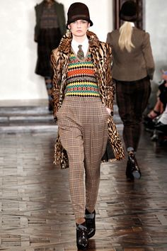 Mix-'n-match exotic faux-fur with tweeds, Ralph Lauren (Fall 2012)