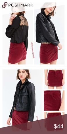 "Urban Outfitters BDG Sybale Red Velvet Mini Skirt Soft velvet mini skirt by BDG in a slim fit with a high-rise waist and brass button-zipper fly. Purchased from Urban Outfitters. 98 % Cotton, 2% Spandex. Machine wash. Measurements taken from size 4. Waist: 30.5"". Length: 14.25"". Color = plum/merlot/maroon. Urban Outfitters Skirts Mini"