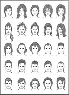 Men's Hair - Set 12 - Different Hairstyles for Boys - Character Design and Drawing Reference