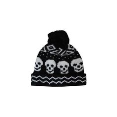 Skull Bobble Hat ($10) ❤ liked on Polyvore featuring accessories, hats, beanies, head, bobble hat, skull hat, white beanie hat, print hats and beanie cap
