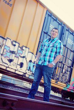 Senior Photo Shoot  Male Senior Pictures  Train  Graffiti  Rail Road Tracks