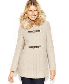 Calvin Klein Faux-Fur-Trim Buckle Duffle Coat