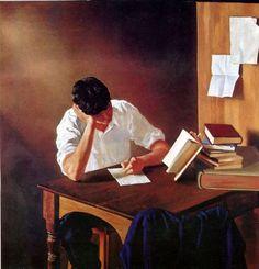 O livro e o estudo Juan Lascano (Argentina, 1947) óleo sobre tela