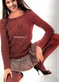 Пуловер с ажурной кокеткой спицами и крючком
