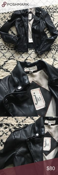 """Anthropologie Vegan Leather Moto Jacket Size xs. Moto style vegan leather, SUPER SOFT - feels and looks like the real thing. Jkt brand. Zippers on pockets and sleeves, collar snaps in place. When zipper, approx 17 1/2"""" armpit to armpit, 21"""" from back of neck to hem (not including collar). Anthropologie Jackets & Coats"""