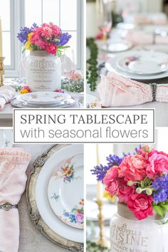 Spring flower arrangements are one of the easiest ways to add beautiful color to a seasonal tablescape to welcome the season of rebirth and renewal. French Table Setting, Country Table Settings, Elegant Table Settings, French Farmhouse Decor, French Home Decor, French Country Decorating, Country Interior Design, Vintage Interior Design, Spring Flower Arrangements