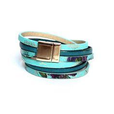 Turquoise genuine leather bracelet Double wrap bracelet for