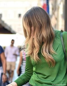 Street style look, denim shorts + green top, Teuta Mesaroš by peopleandtyles.com
