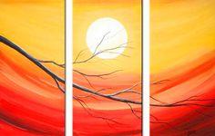TE MOSTRAMOS LO MEJORES CUADROS AL OLEO MODERNOS | Fotos De ... Multi Canvas Painting, Simple Acrylic Paintings, Large Canvas Art, Seascape Paintings, Hand Painting Art, Sunset Painting Easy, Night Sky Painting, Sunrise Painting, Lake Painting