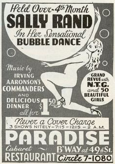 A show flier advertising Sally Rand's famous 'bubble dance' at the Paradise Cabaret in New York.