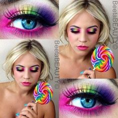 Candy Makeup and Theme Clown Makeup Pretty Candy Makeup Theme Candy Makeup, Clown Makeup, Costume Makeup, Halloween Makeup, Eye Candy, Candy Girls, Costume Bonbon, Candy Land Costumes, Makeup Themes