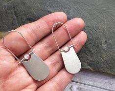Sterling Silver hoop earrings -tribal earrings -dangle and drop -geometric earrings