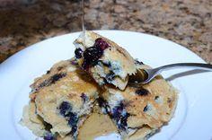NOT BAD Organically Paleo: Blueberry Pancakes 1c almond flour, 1/4 t baking soda, 1 egg, 1/2 T lemon juice, 1T melted coconut oil, 6T almond milk, 1/2 c blueberries.