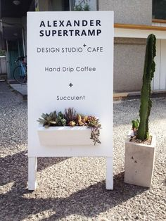 Standing sign board + Flower(Succulent or Cacti)
