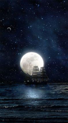 Schiff / Ship - Mond / Moon
