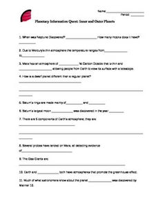 Worksheets Inner Planets Worksheet astronomy worksheets and printables homeschool pinterest fantastic info quest for the inner outer planets great intro worksheet or formative