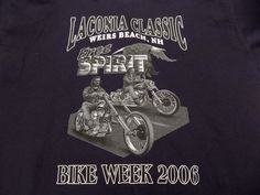 Laconia Classic Weirs Beach, NH Bike Week 2006 T Shirt Size S/M Dark Blue #Motorcycles #ShortSleeve