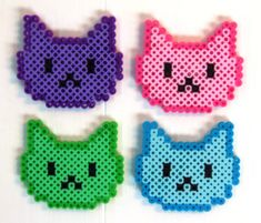 8bit Kitty Perler bead hair clip by BitKitties on Etsy